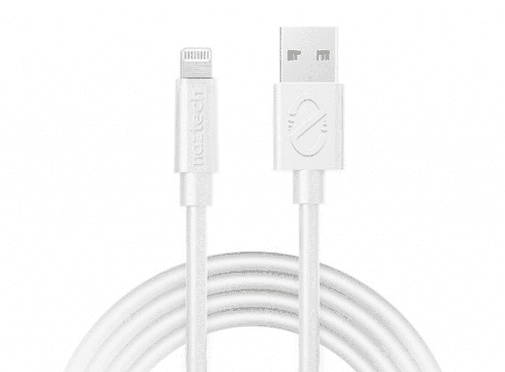 Naztech USB to MFi Lightning 12' Extra Long Cable in close up