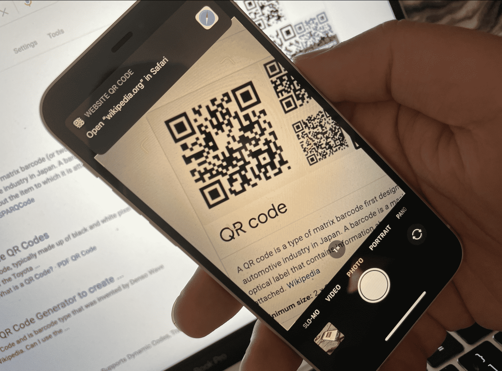 QR scan on iPhone