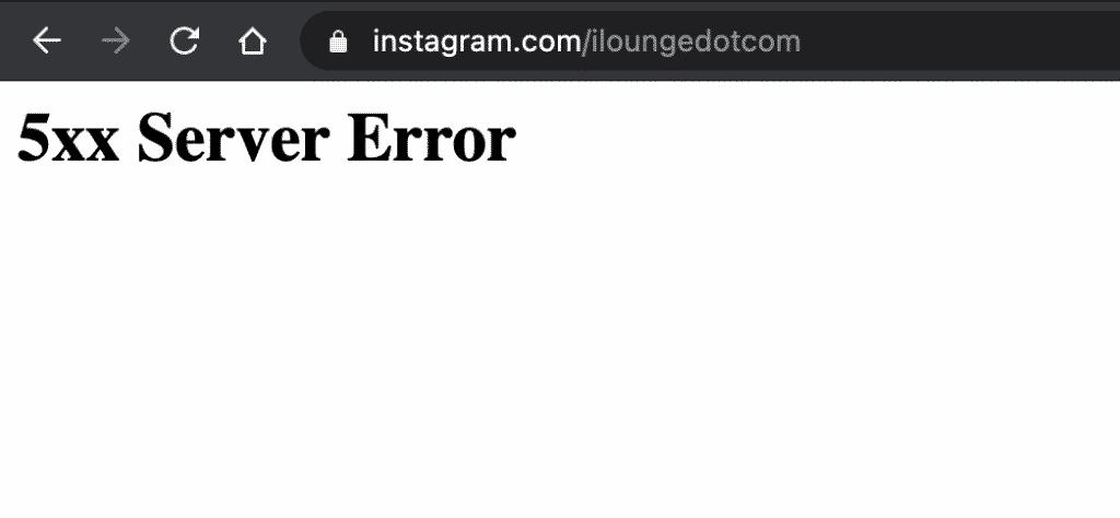 5XX Server down error on Instagram