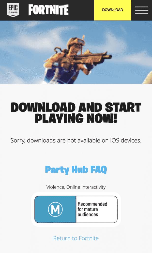 Download Fortnite on iPhone error