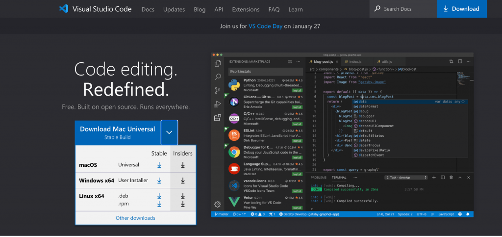 VSCode now runs natively on Apple Silicon M1 Macs