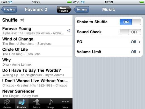 iPod touch shuffle mode