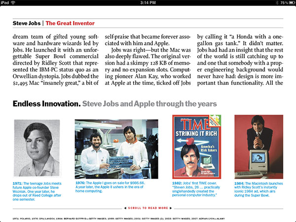 iPad Gems: Steve Jobs Editions Of Bloomberg Businessweek+, Fortune, Time + Wired