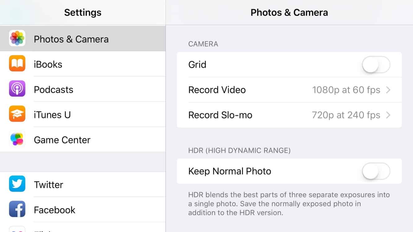Adjusting video recording quality settings in iOS 9