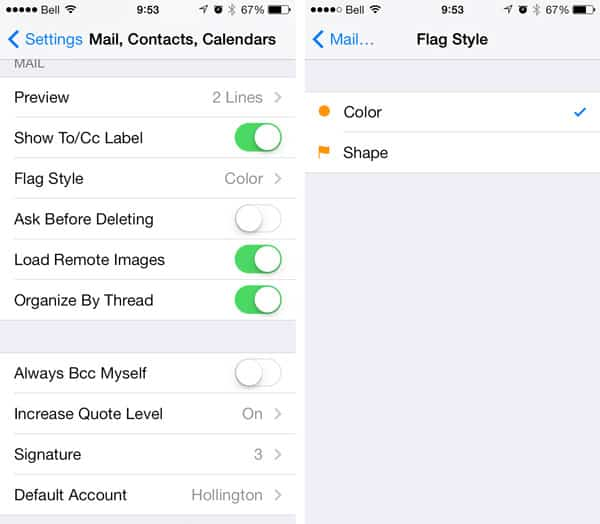 iOS 7: Changing the Mail Flag icon