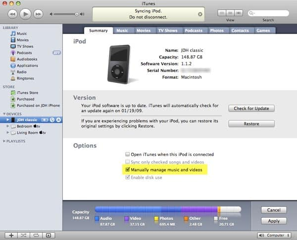 Using an iPod on more than one computer