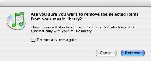 Deleting songs from iTunes
