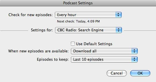 Keeping podcast episodes