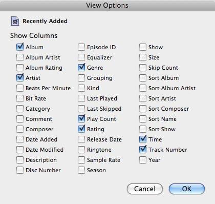 Track sorting on iPod classic