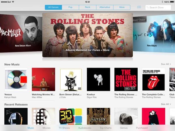 iOS 7: iTunes Store, App Store, Calculator + Mail