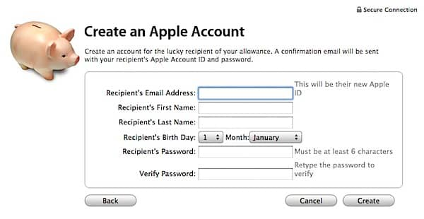 Setting up an iTunes Store account for a child