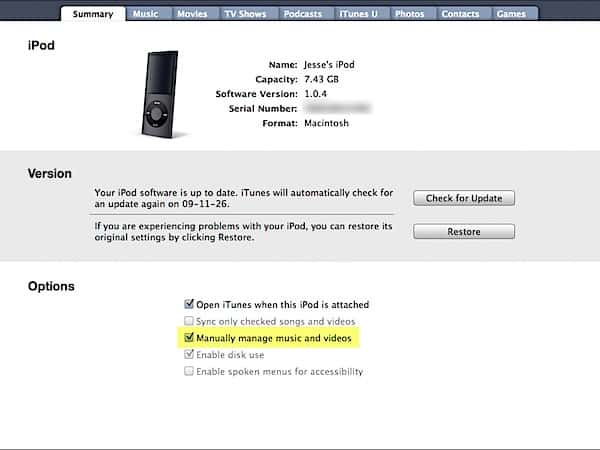 Adding a second family iPod to iTunes