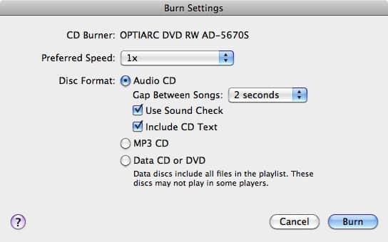 Burning CDs from an external hard drive
