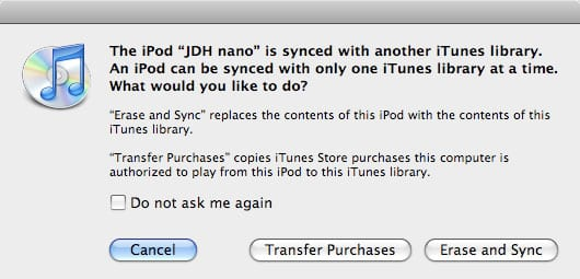 Synchronizing iPod to a new iTunes library