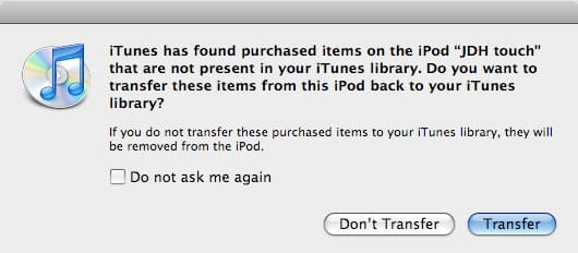 Re-transferring apps from a new iTunes library