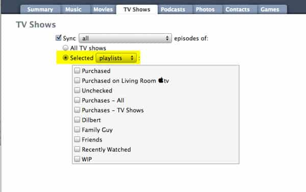 Syncing TV Shows by playlist