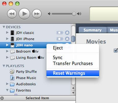 Syncing movies to iPod nano