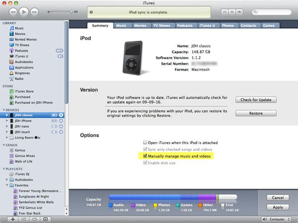 Drag-and-drop content to iPod