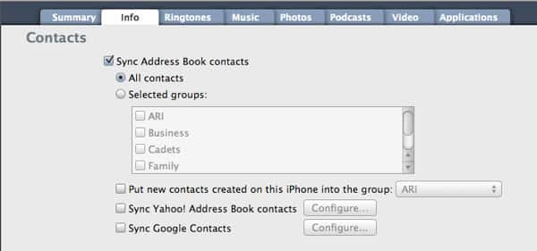 Synchronizing contacts to iPod touch