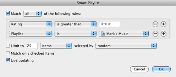 Creating Smart Playlists based on other playlists