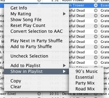 Locating tracks in playlists