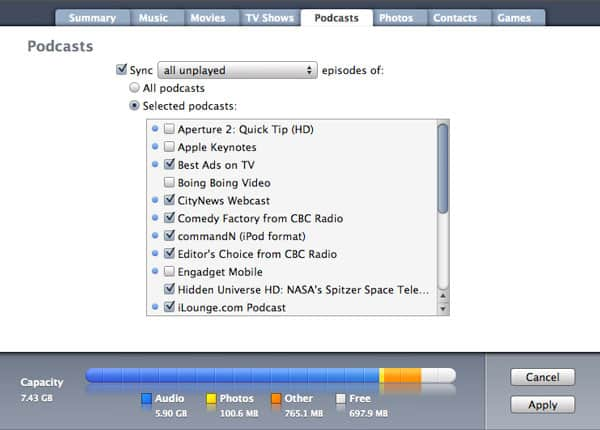 Keeping played podcast episodes on iPod