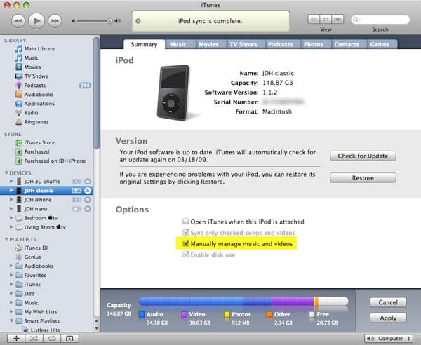 Storing music only on your iPod