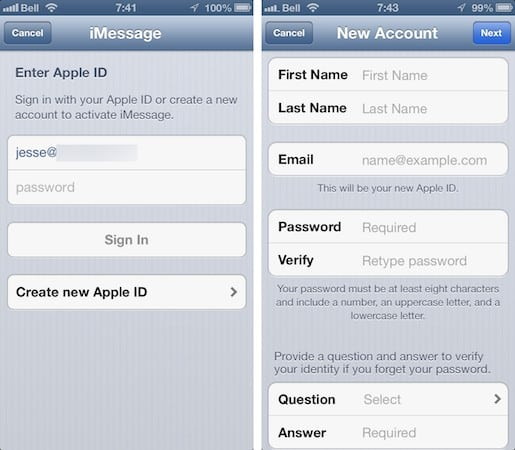 iMessage and FaceTime activation and blocked SMS