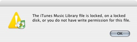 """Fixing """"Library Locked"""" message in Mac iTunes"""