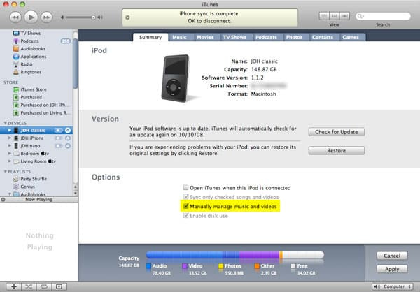 Transferring tracks to iPod in manual mode