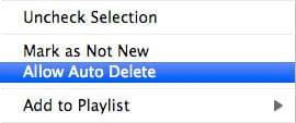 Preventing auto-deletion of podcasts