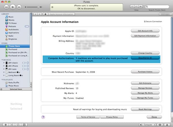 Resetting iTunes Store authorization counts