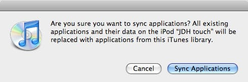 Syncing iPod touch apps and data with a new iTunes library