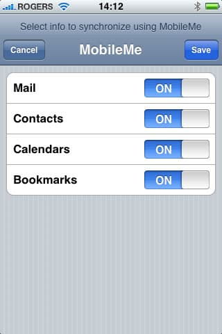 MobileMe on iPhone for Calendars only