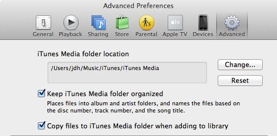 Transferring your iTunes Library