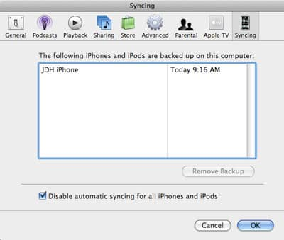 Preventing iPod sync when connecting with iTunes