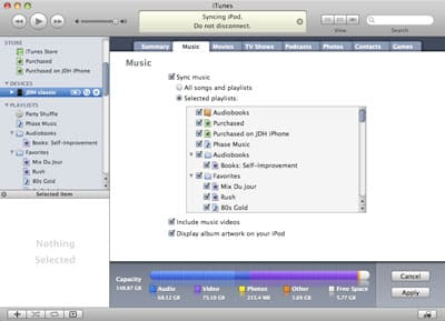 Syncing iPod using checked songs