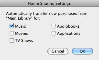 Sharing home libraries in iTunes 9