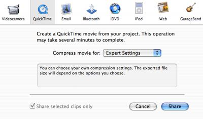 Exporting from iMovie to iPod and Apple TV formats