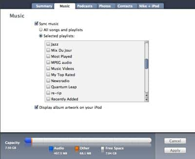 Syncing selected items to iPod