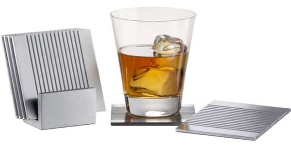 CB2 7-Piece Groove Aluminum Coasters With Stand Set