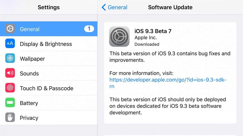 Apple releases iOS 9.3 beta 7