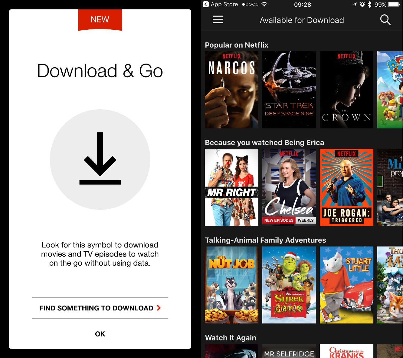 Netflix enables offline viewing for some shows and movies on its iOS app