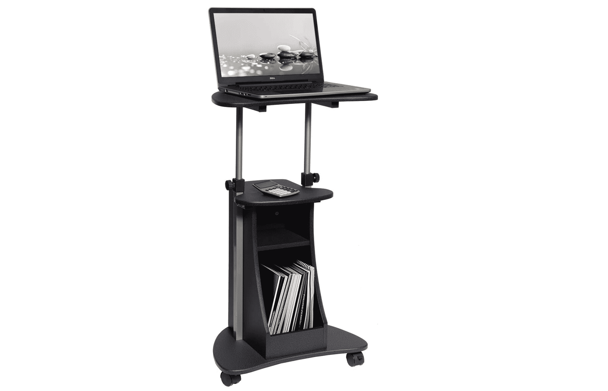 Techni Mobili Sit-to-Stand Rolling Adjustable Height Laptop Cart with Storage, Graphite
