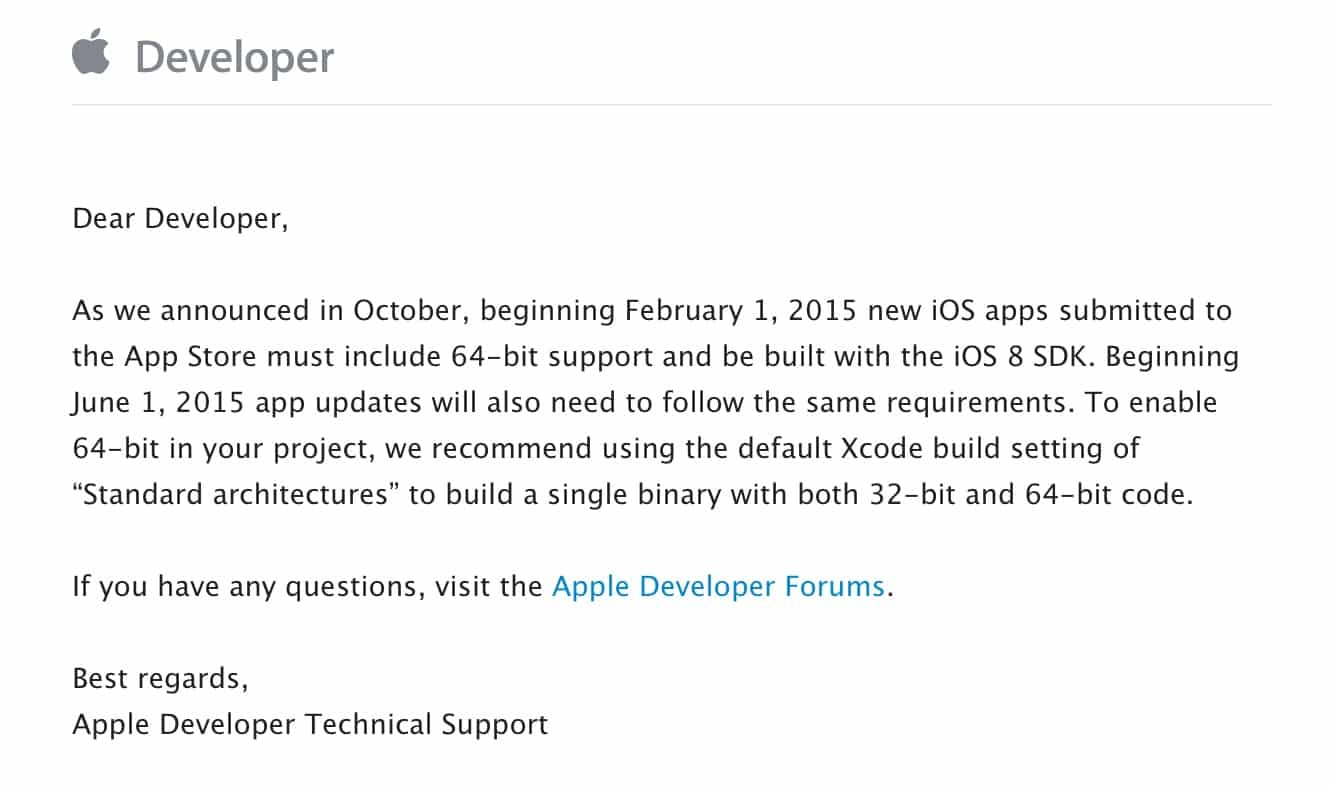 Apple announces 64-bit and iOS 8 requirements for app updates
