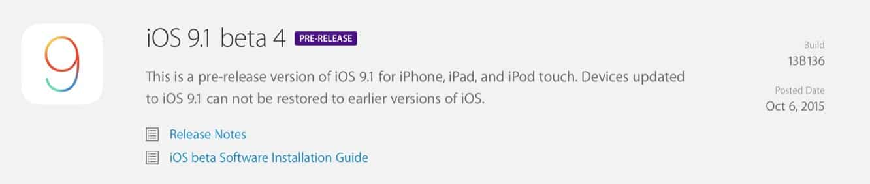 Apple releases fourth iOS 9.1 beta, third tvOS beta to developers