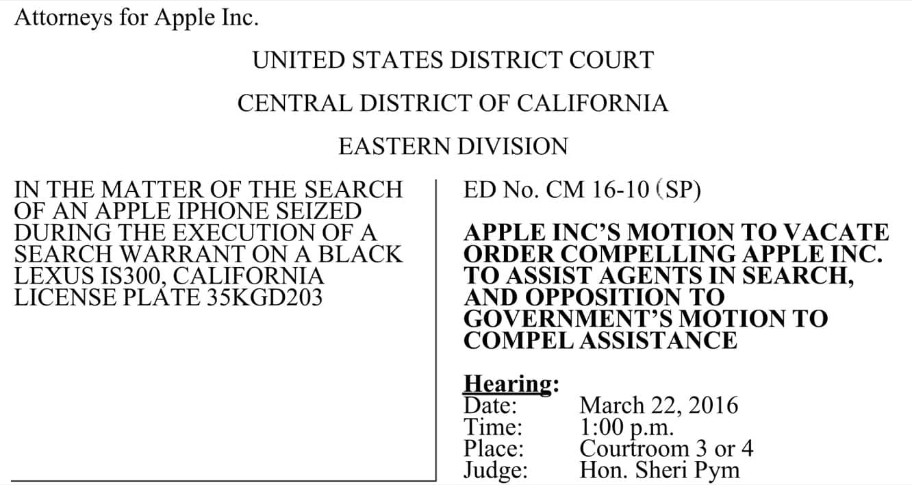 Apple files motion to dismiss court order in FBI iPhone hacking case