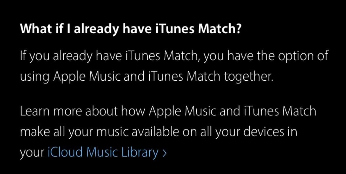 Apple acknowledges Apple Music now includes 'all the benefits of iTunes Match'
