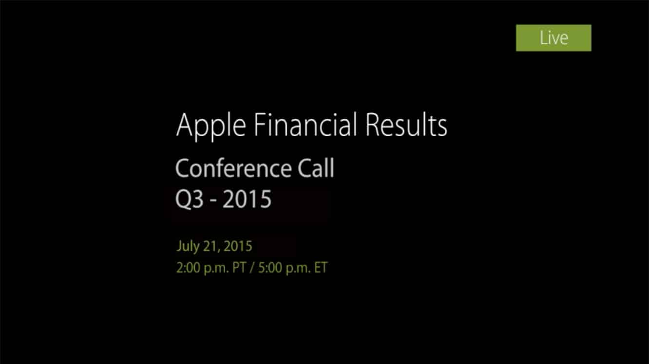 Notes from Apple's Q3 2015 earnings call
