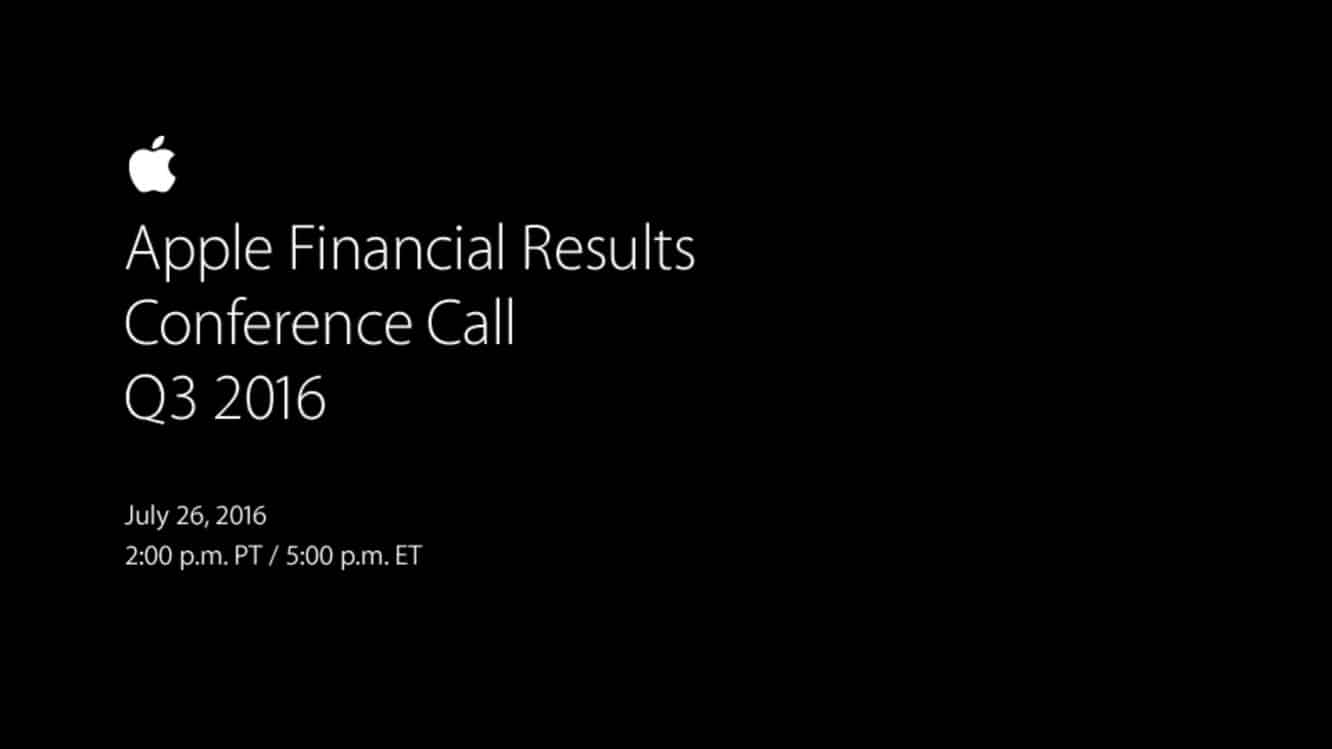 Notes from Apple's Q3 2016 earnings call